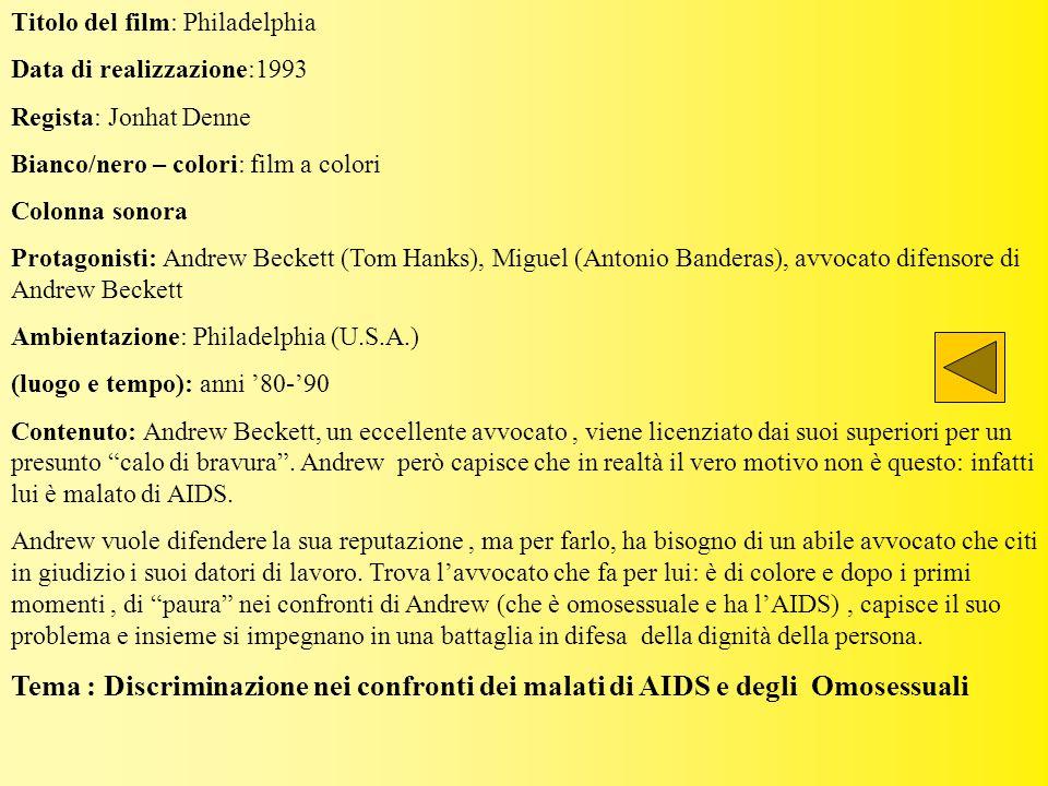 Titolo del film: Philadelphia Data di realizzazione:1993 Regista: Jonhat Denne Bianco/nero – colori: film a colori Colonna sonora Protagonisti: Andrew