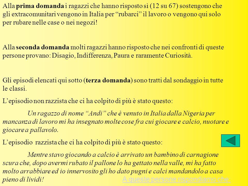 Alla prima domanda i ragazzi che hanno risposto sì (12 su 67) sostengono che gli extracomunitari vengono in Italia per rubarci il lavoro o vengono qui
