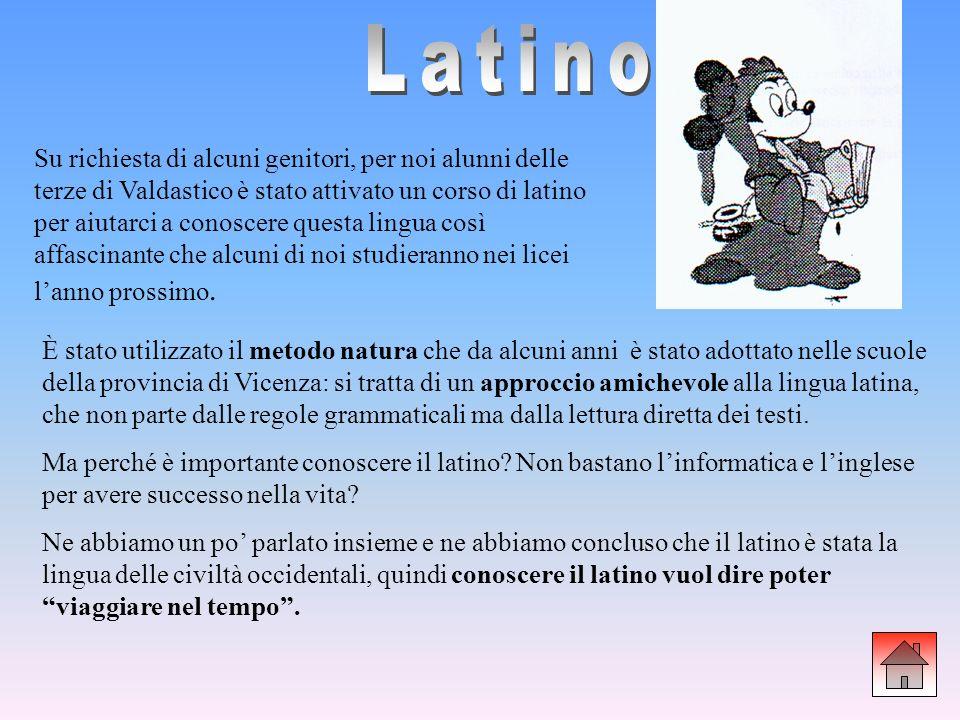 Su richiesta di alcuni genitori, per noi alunni delle terze di Valdastico è stato attivato un corso di latino per aiutarci a conoscere questa lingua c