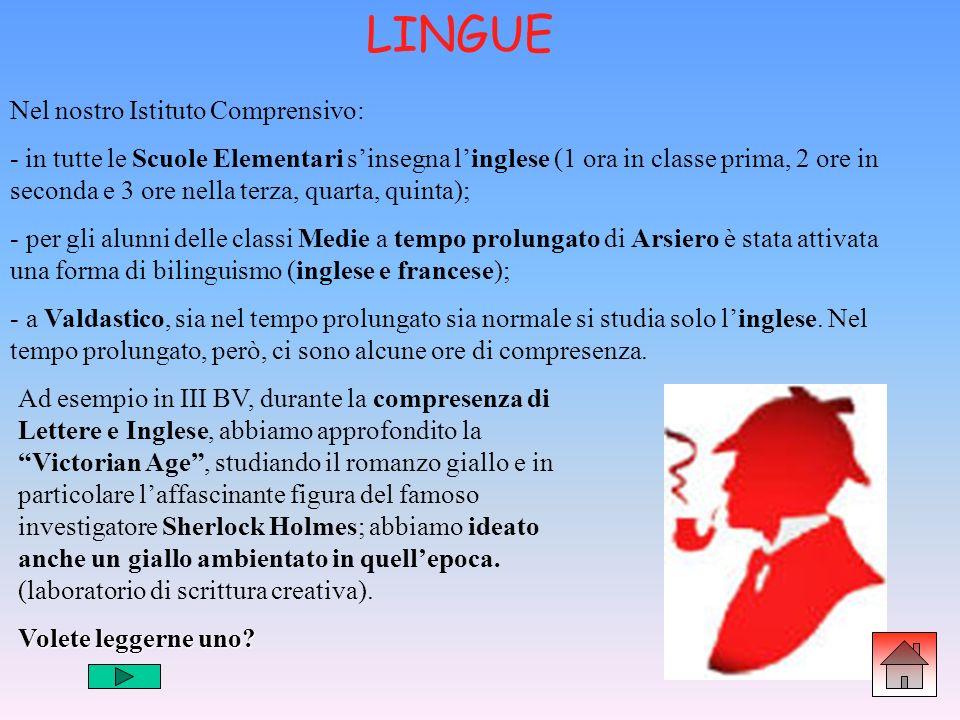 Nel nostro Istituto Comprensivo: - in tutte le Scuole Elementari sinsegna linglese (1 ora in classe prima, 2 ore in seconda e 3 ore nella terza, quart