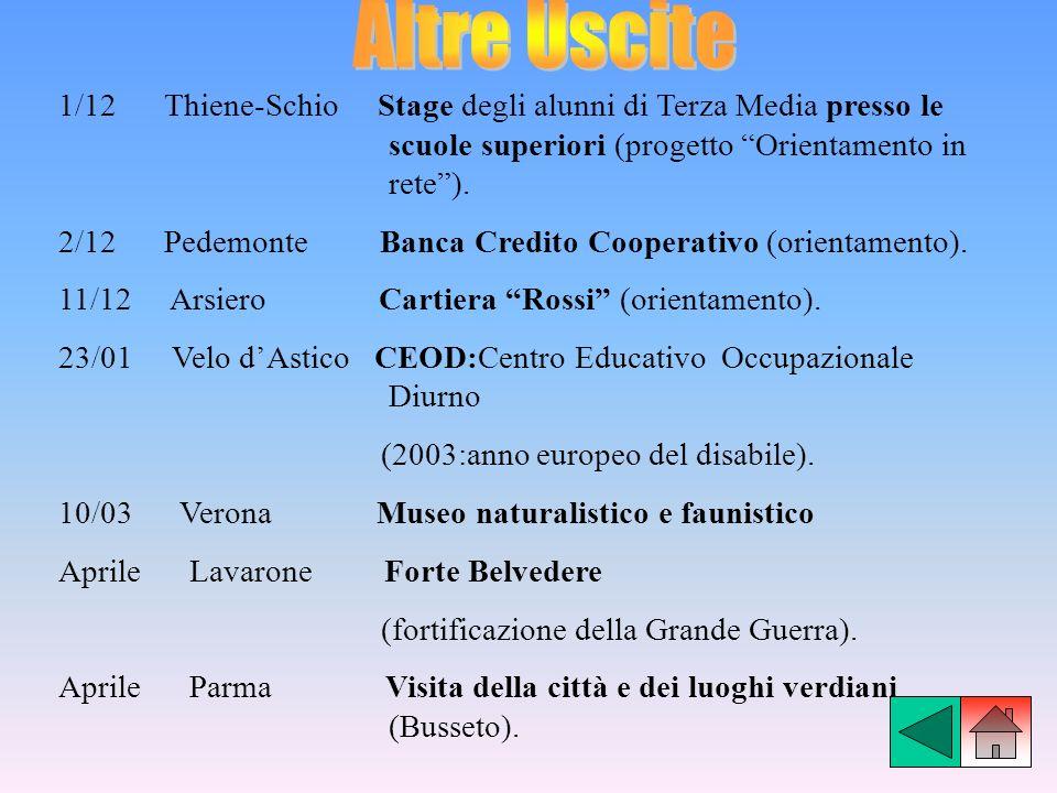 1/12 Thiene-Schio Stage degli alunni di Terza Media presso le scuole superiori (progetto Orientamento in rete). 2/12 Pedemonte Banca Credito Cooperati