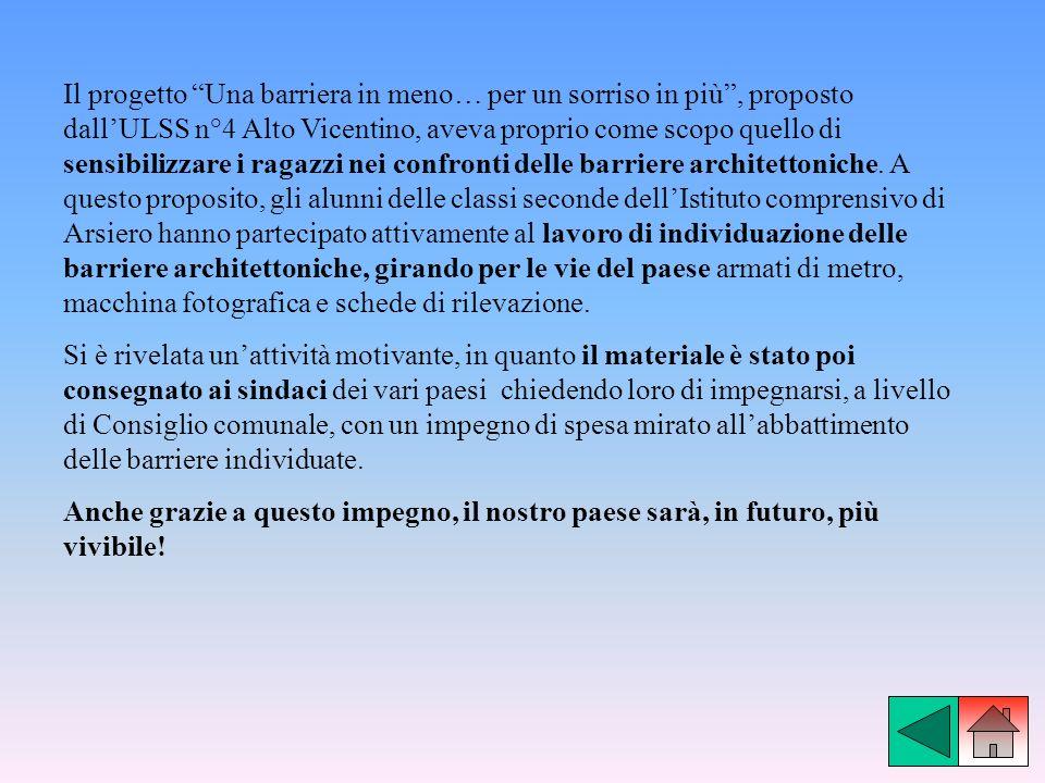 Il progetto Una barriera in meno… per un sorriso in più, proposto dallULSS n°4 Alto Vicentino, aveva proprio come scopo quello di sensibilizzare i rag