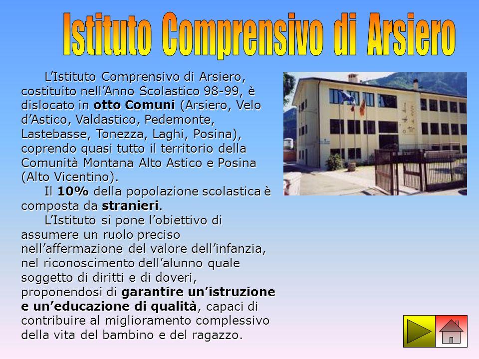 LIstituto Comprensivo di Arsiero, costituito nellAnno Scolastico 98-99, è dislocato in otto Comuni (Arsiero, Velo dAstico, Valdastico, Pedemonte, Last