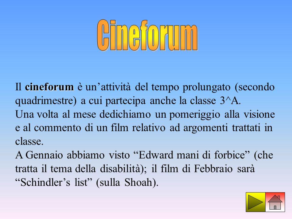 cineforum Il cineforum è unattività del tempo prolungato (secondo quadrimestre) a cui partecipa anche la classe 3^A. Una volta al mese dedichiamo un p