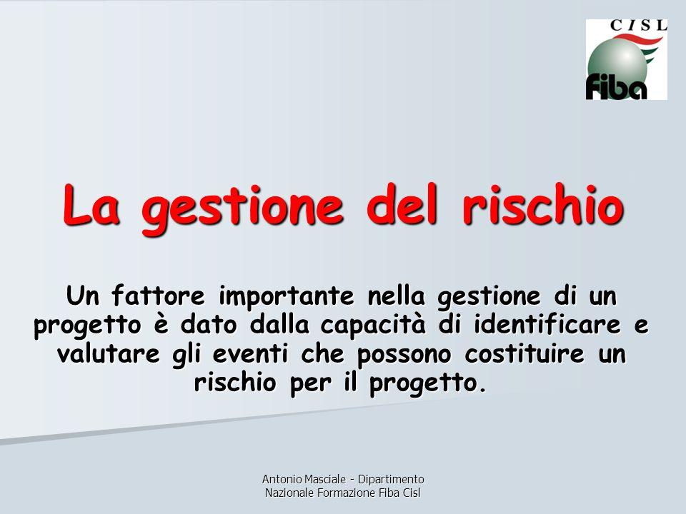 Antonio Masciale - Dipartimento Nazionale Formazione Fiba Cisl La gestione del rischio Un fattore importante nella gestione di un progetto è dato dall