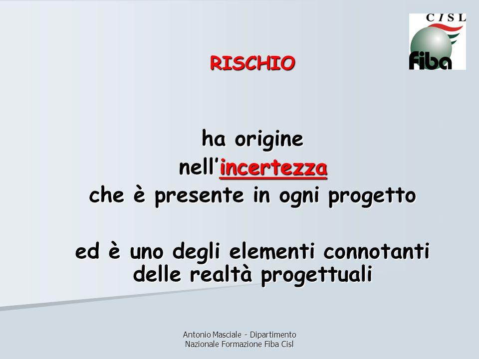 Antonio Masciale - Dipartimento Nazionale Formazione Fiba Cisl RISCHIO ha origine nellincertezza che è presente in ogni progetto ed è uno degli elementi connotanti delle realtà progettuali