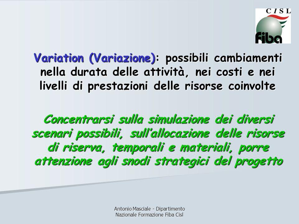 Antonio Masciale - Dipartimento Nazionale Formazione Fiba Cisl Variation (Variazione): possibili cambiamenti nella durata delle attività, nei costi e