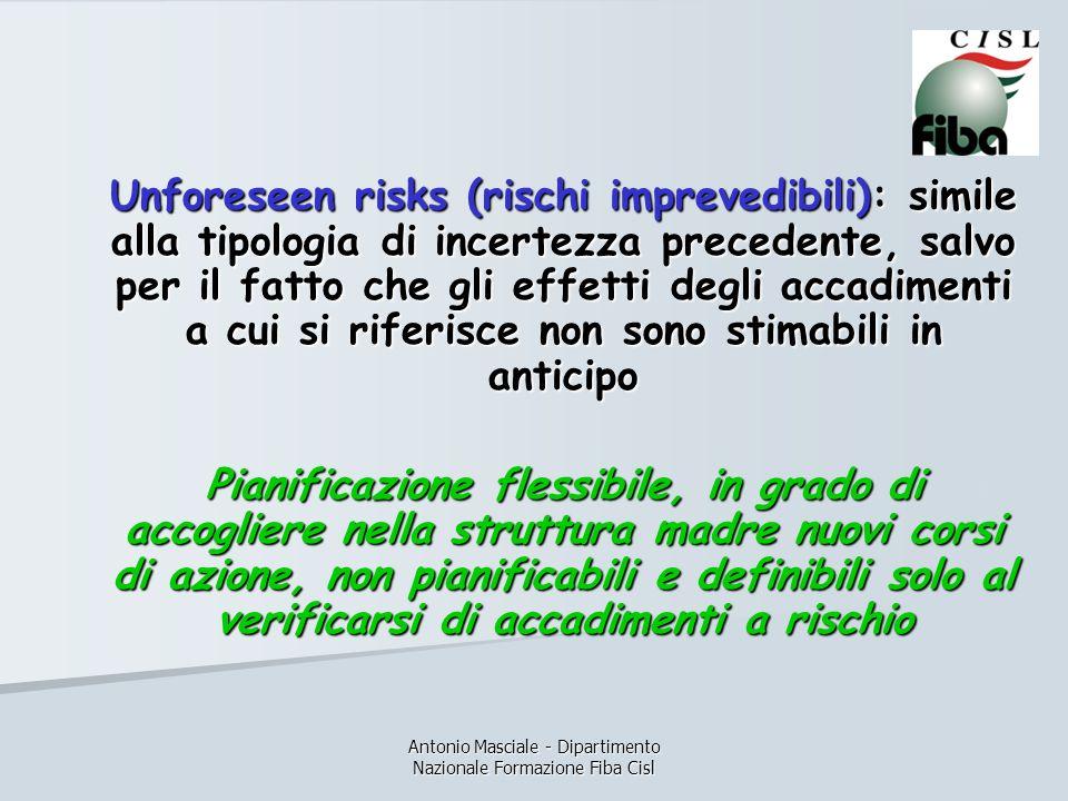 Antonio Masciale - Dipartimento Nazionale Formazione Fiba Cisl Unforeseen risks (rischi imprevedibili): simile alla tipologia di incertezza precedente