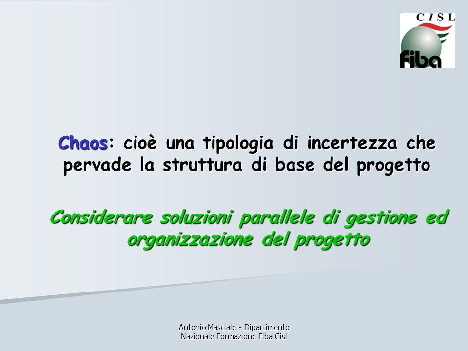 Antonio Masciale - Dipartimento Nazionale Formazione Fiba Cisl Chaos: cioè una tipologia di incertezza che pervade la struttura di base del progetto Considerare soluzioni parallele di gestione ed organizzazione del progetto