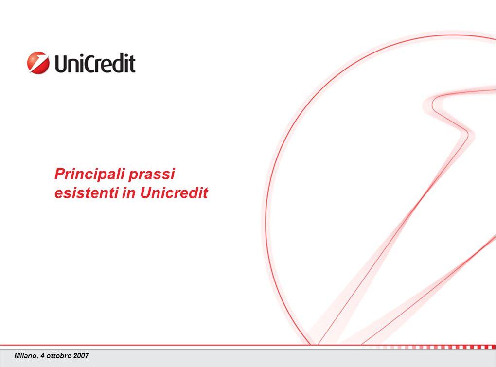 Milano, 4 ottobre 2007 Principali prassi esistenti in Unicredit