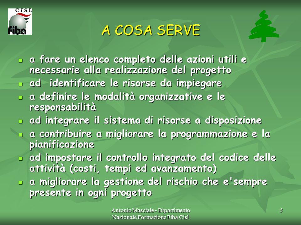 Antonio Masciale - Dipartimento Nazionale Formazione Fiba Cisl 4 COME SI UTILIZZA fase 1: si elencano i sub - progetti (servizi, attrezzature,ecc) nei quali si articola il progetto.