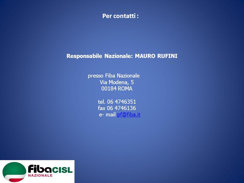 Per contatti : Responsabile Nazionale: MAURO RUFINI presso Fiba Nazionale Via Modena, 5 00184 ROMA tel. 06 4746351 fax 06 4746136 e- mail pf@fiba.itpf