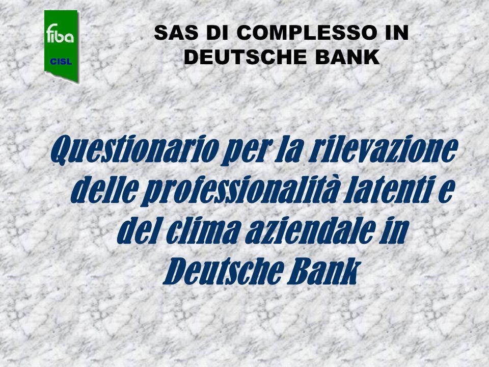 SAS DI COMPLESSO IN DEUTSCHE BANK Questionario per la rilevazione delle professionalità latenti e del clima aziendale in Deutsche Bank