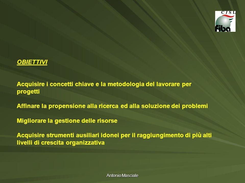 Antonio Masciale OBIETTIVI Acquisire i concetti chiave e la metodologia del lavorare per progetti Affinare la propensione alla ricerca ed alla soluzio