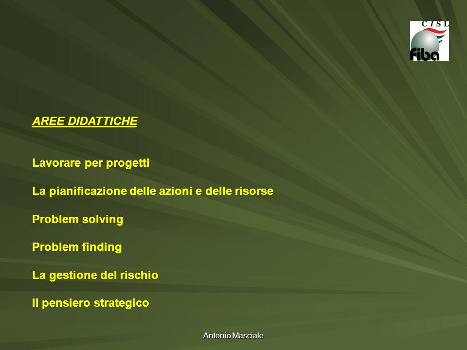 Antonio Masciale AREE DIDATTICHE Lavorare per progetti La pianificazione delle azioni e delle risorse Problem solving Problem finding La gestione del