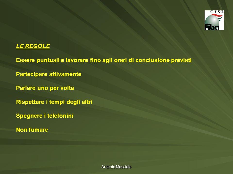 Antonio Masciale LE REGOLE Essere puntuali e lavorare fino agli orari di conclusione previsti Partecipare attivamente Parlare uno per volta Rispettare