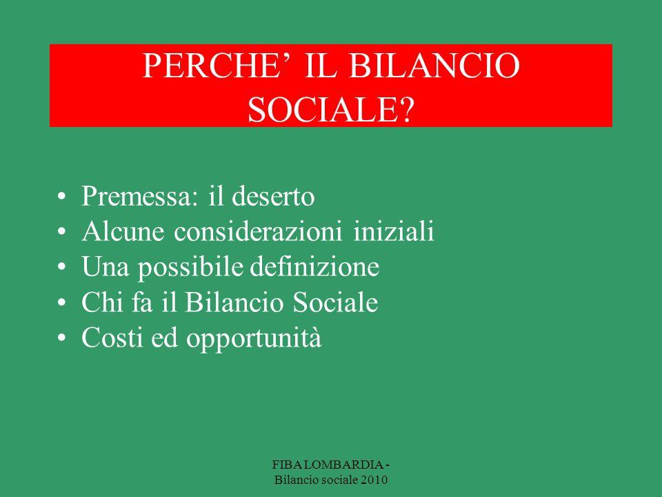 PERCHE IL BILANCIO SOCIALE.