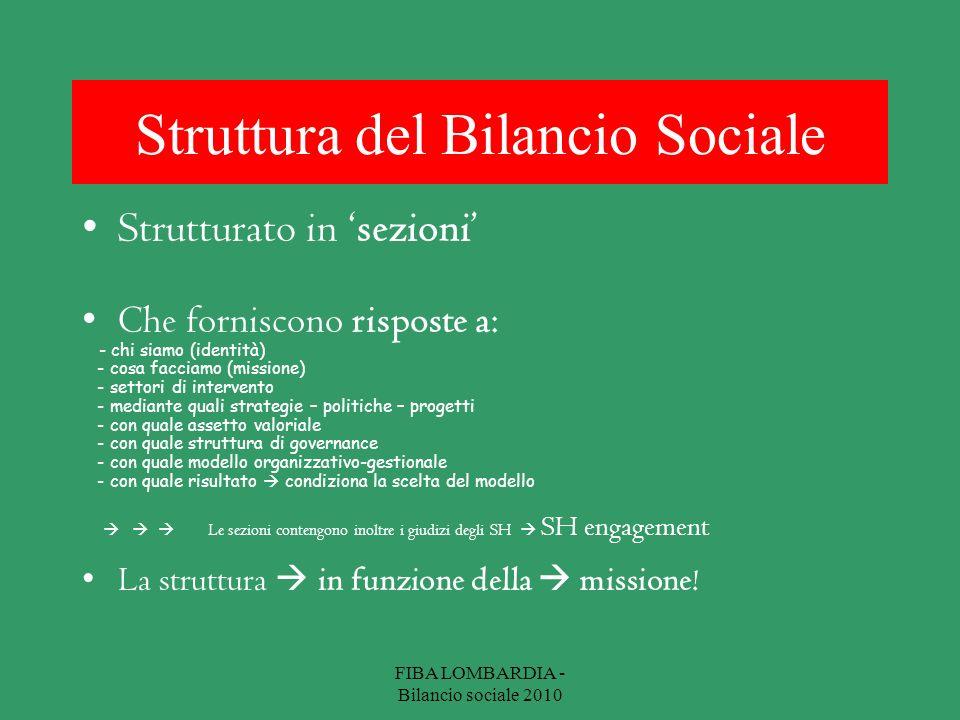 Struttura del Bilancio Sociale Strutturato in sezioni Che forniscono risposte a: - chi siamo (identità) - cosa facciamo (missione) - settori di interv