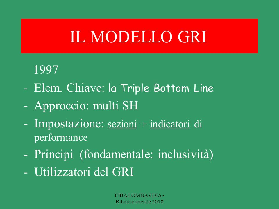 IL MODELLO GRI 1997 - Elem. Chiave: la Triple Bottom Line - Approccio: multi SH -Impostazione: sezioni + indicatori di performance -Principi (fondamen
