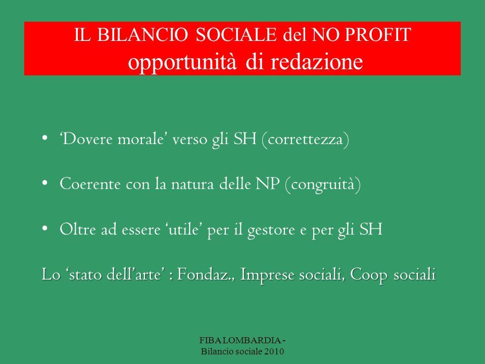 IL BILANCIO SOCIALE del NO PROFIT opportunità di redazione Dovere morale verso gli SH (correttezza) Coerente con la natura delle NP (congruità) Oltre