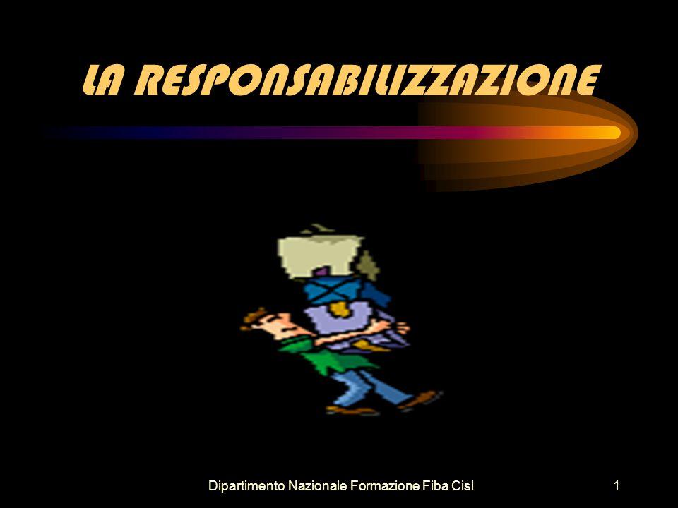 Dipartimento Nazionale Formazione Fiba Cisl1 LA RESPONSABILIZZAZIONE
