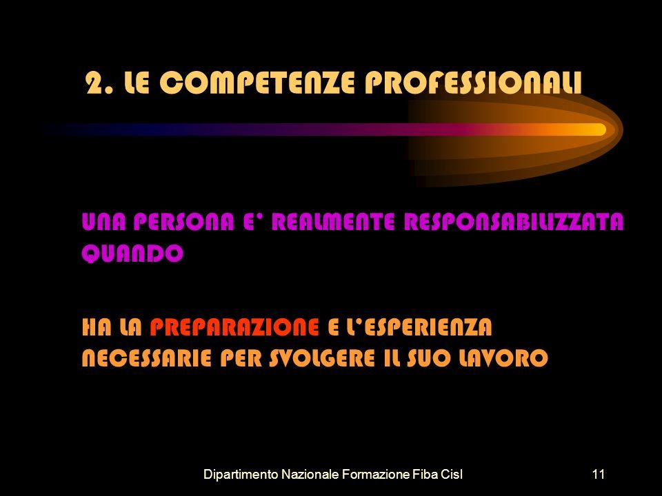 Dipartimento Nazionale Formazione Fiba Cisl11 2. LE COMPETENZE PROFESSIONALI UNA PERSONA E REALMENTE RESPONSABILIZZATA QUANDO HA LA PREPARAZIONE E LES