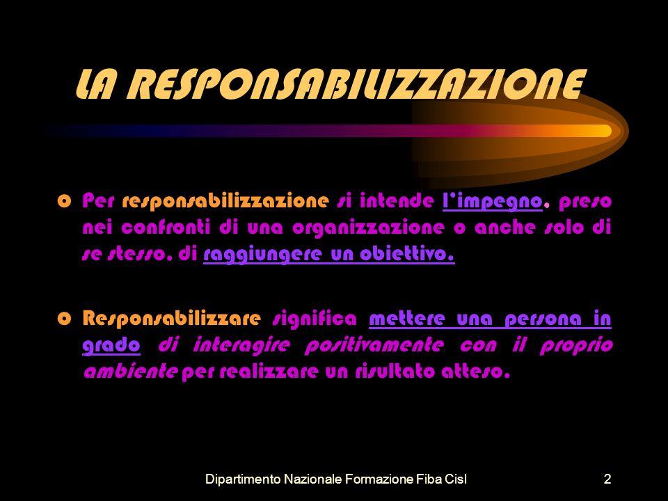 Dipartimento Nazionale Formazione Fiba Cisl2 LA RESPONSABILIZZAZIONE o Per responsabilizzazione si intende limpegno, preso nei confronti di una organizzazione o anche solo di se stesso, di raggiungere un obiettivo.
