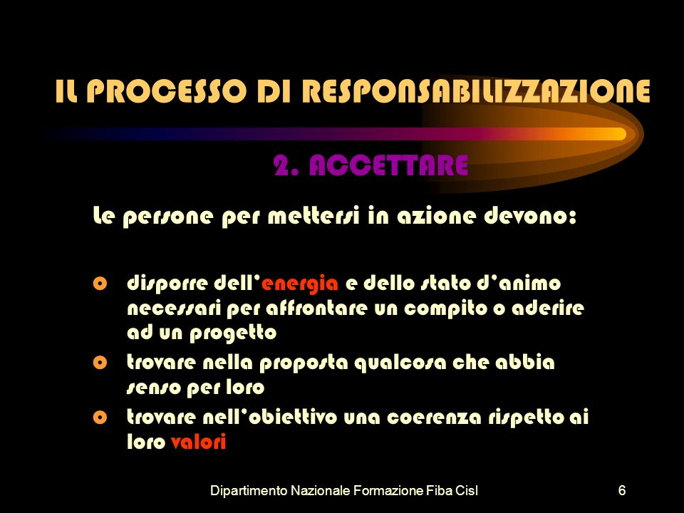 Dipartimento Nazionale Formazione Fiba Cisl6 IL PROCESSO DI RESPONSABILIZZAZIONE 2.