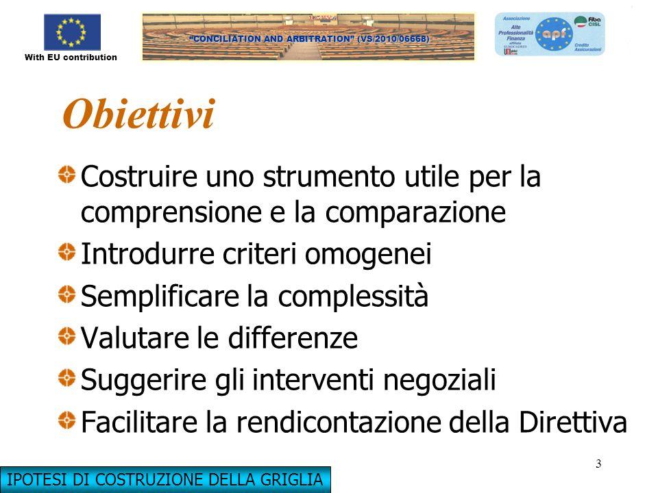 With EU contribution CONCILIATION AND ARBITRATION (VS/2010/06668) 3 Obiettivi Costruire uno strumento utile per la comprensione e la comparazione Intr