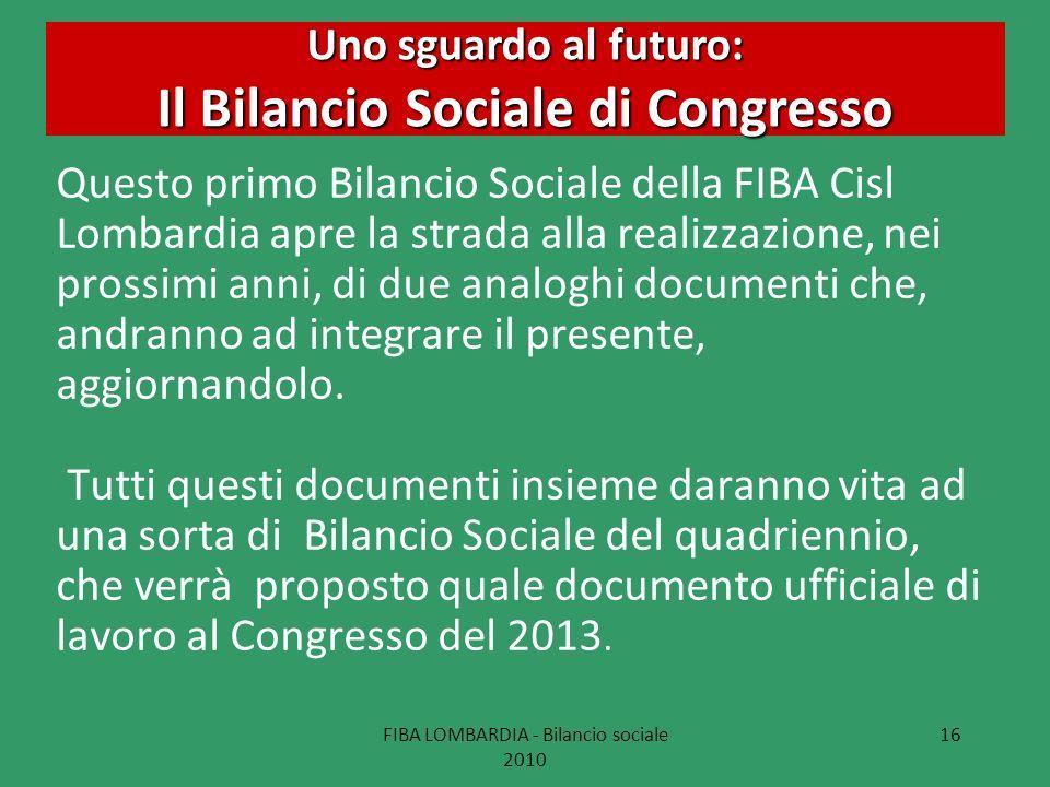 FIBA LOMBARDIA - Bilancio sociale 2010 16 Uno sguardo al futuro: Il Bilancio Sociale di Congresso Questo primo Bilancio Sociale della FIBA Cisl Lombar