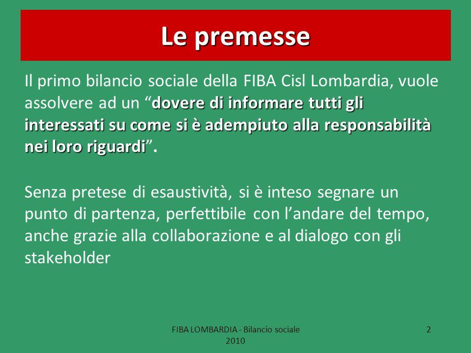 FIBA LOMBARDIA - Bilancio sociale 2010 2 Le premesse dovere di informare tutti gli interessati su come si è adempiuto alla responsabilità nei loro rig