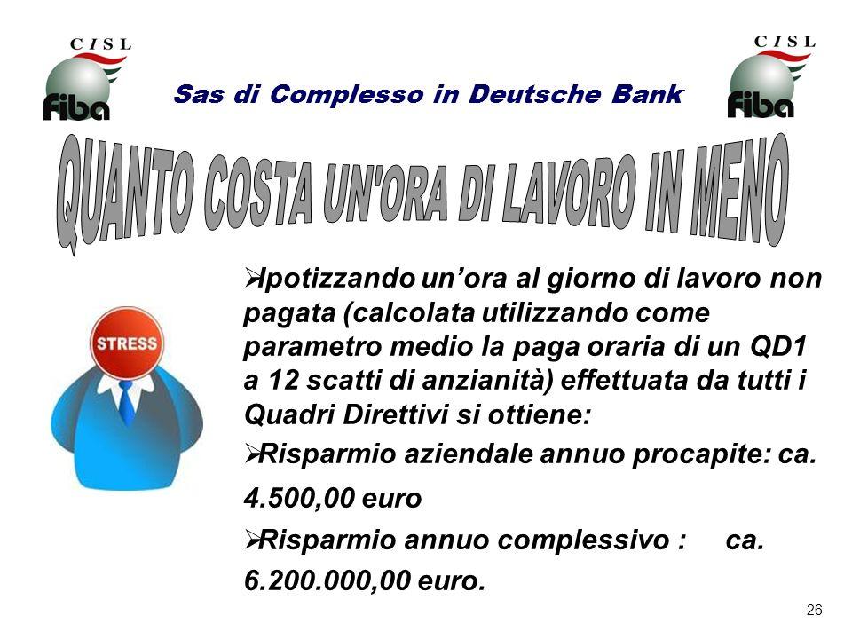 26 Sas di Complesso in Deutsche Bank Ipotizzando unora al giorno di lavoro non pagata (calcolata utilizzando come parametro medio la paga oraria di un