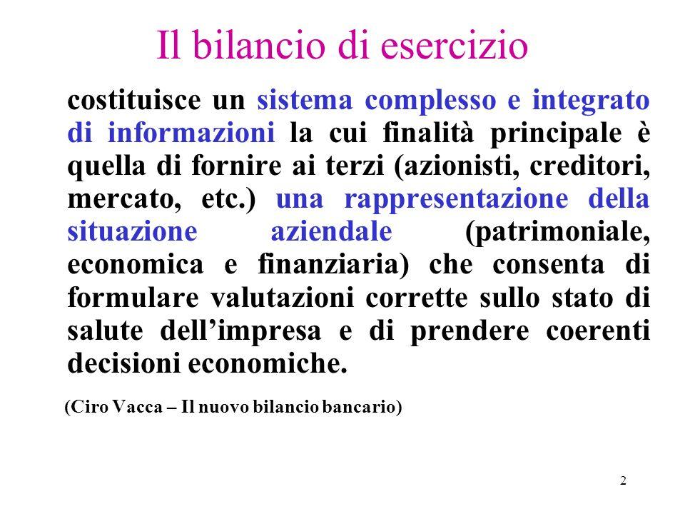 2 Il bilancio di esercizio costituisce un sistema complesso e integrato di informazioni la cui finalità principale è quella di fornire ai terzi (azion