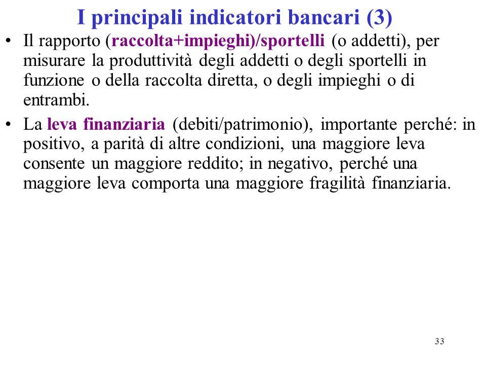 33 I principali indicatori bancari (3) Il rapporto (raccolta+impieghi)/sportelli (o addetti), per misurare la produttività degli addetti o degli sport