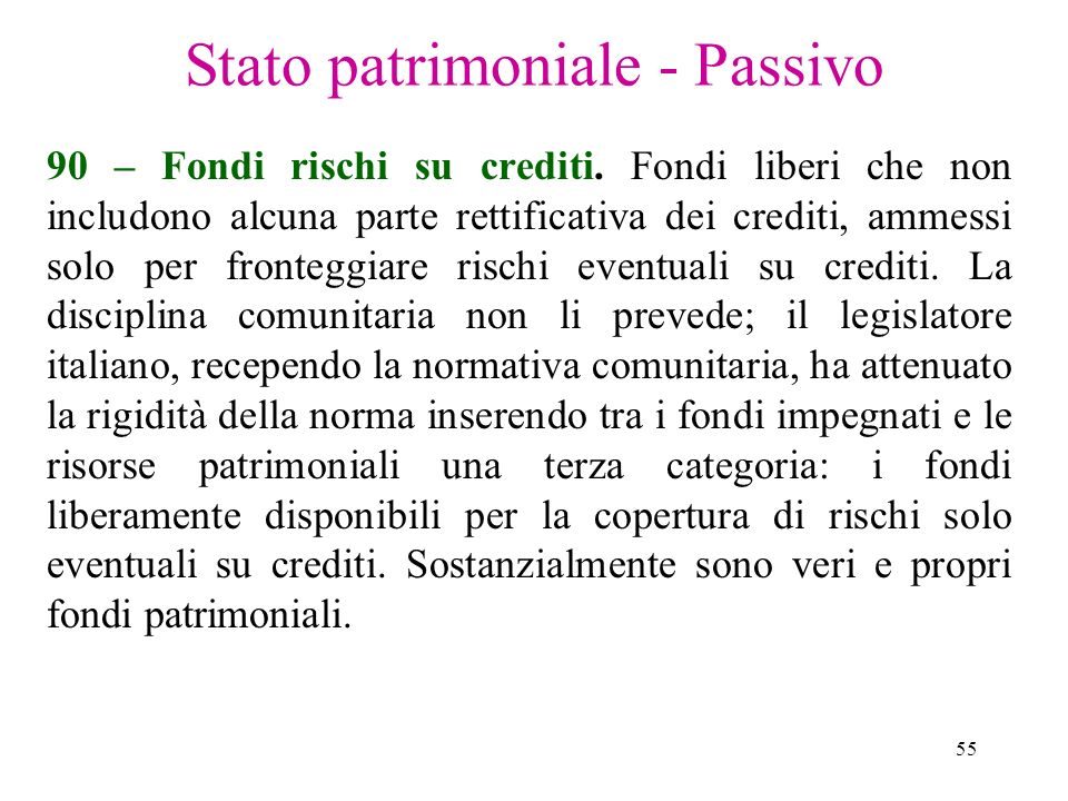 55 Stato patrimoniale - Passivo 90 – Fondi rischi su crediti. Fondi liberi che non includono alcuna parte rettificativa dei crediti, ammessi solo per