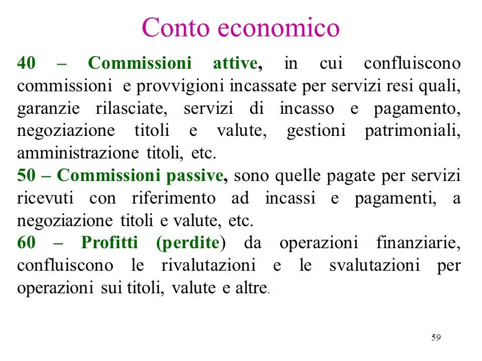 59 Conto economico 40 – Commissioni attive, in cui confluiscono commissioni e provvigioni incassate per servizi resi quali, garanzie rilasciate, servi