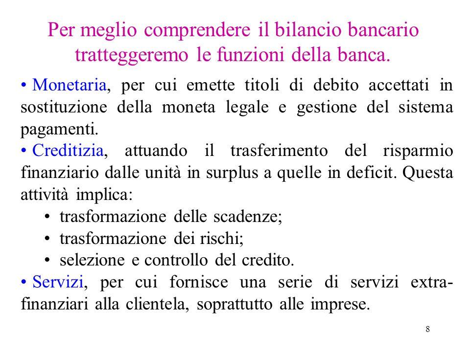 8 Per meglio comprendere il bilancio bancario tratteggeremo le funzioni della banca. Monetaria, per cui emette titoli di debito accettati in sostituzi