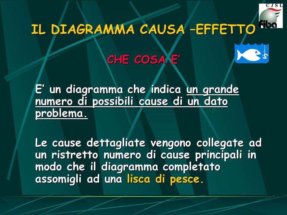 CHE COSA E E un diagramma che indica un grande numero di possibili cause di un dato problema. Le cause dettagliate vengono collegate ad un ristretto n