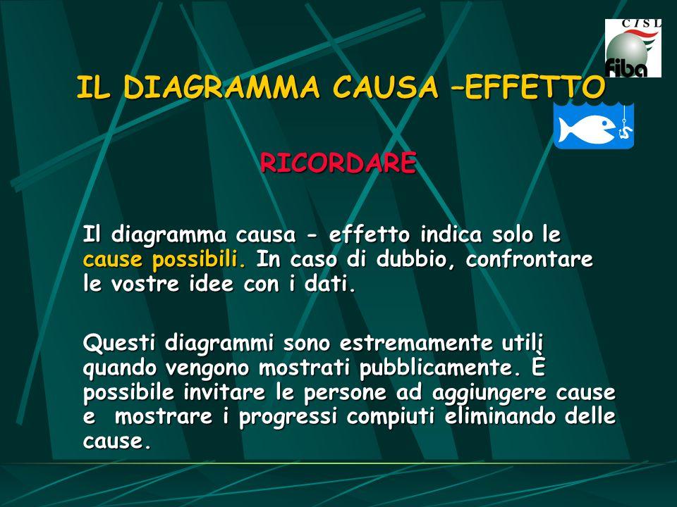 IL DIAGRAMMA CAUSA –EFFETTO RICORDARE Il diagramma causa - effetto indica solo le cause possibili. In caso di dubbio, confrontare le vostre idee con i
