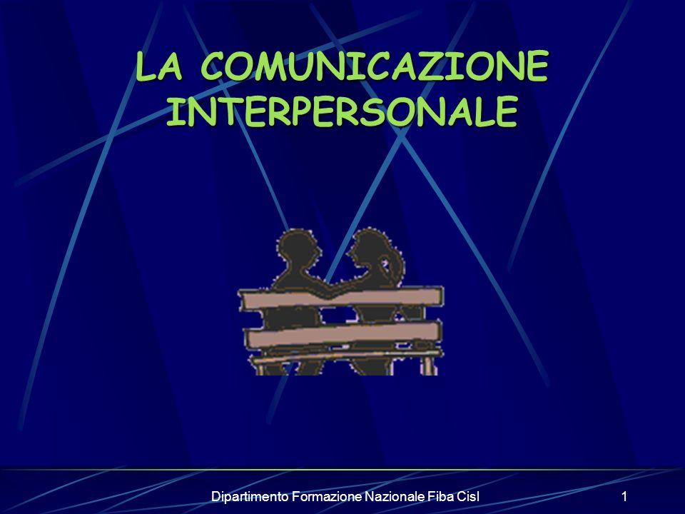 Dipartimento Formazione Nazionale Fiba Cisl1 LA COMUNICAZIONE INTERPERSONALE