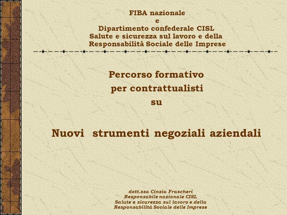 Percorso formativo per contrattualisti su Nuovi strumenti negoziali aziendali FIBA nazionale e Dipartimento confederale CISL Salute e sicurezza sul la