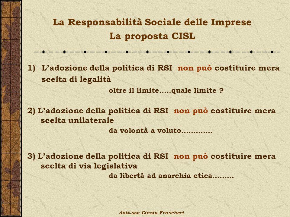 1)Ladozione della politica di RSI non può costituire mera scelta di legalità oltre il limite…..quale limite ? 2) Ladozione della politica di RSI non p