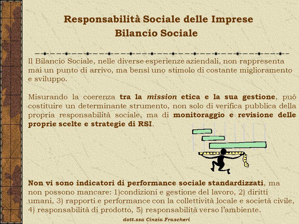 Responsabilità Sociale delle Imprese Bilancio Sociale dott.ssa Cinzia Frascheri Il Bilancio Sociale, nelle diverse esperienze aziendali, non rappresenta mai un punto di arrivo, ma bensì uno stimolo di costante miglioramento e sviluppo.