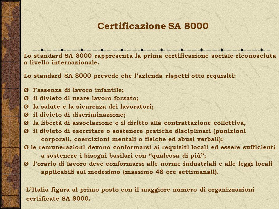Lo standard SA 8000 rappresenta la prima certificazione sociale riconosciuta a livello internazionale. Lo standard SA 8000 prevede che lazienda rispet