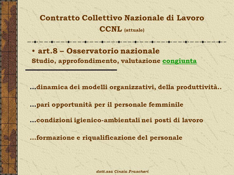 Contratto Collettivo Nazionale di Lavoro CCNL (attuale) art.8 – Osservatorio nazionale Studio, approfondimento, valutazione congiunta …pari opportunità per il personale femminile …dinamica dei modelli organizzativi, della produttività..