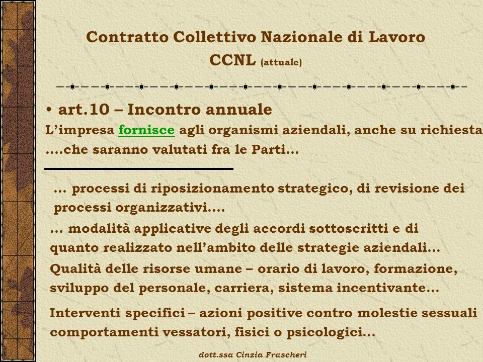 Contratto Collettivo Nazionale di Lavoro CCNL (attuale) art.10 – Incontro annuale Limpresa fornisce agli organismi aziendali, anche su richiesta ….che