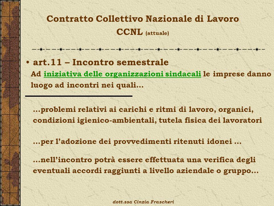 Contratto Collettivo Nazionale di Lavoro CCNL (attuale) art.11 – Incontro semestrale Ad iniziativa delle organizzazioni sindacali le imprese danno luo