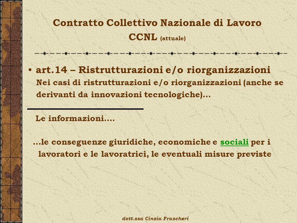 Contratto Collettivo Nazionale di Lavoro CCNL (attuale) art.14 – Ristrutturazioni e/o riorganizzazioni Nei casi di ristrutturazioni e/o riorganizzazioni (anche se derivanti da innovazioni tecnologiche)… Le informazioni….