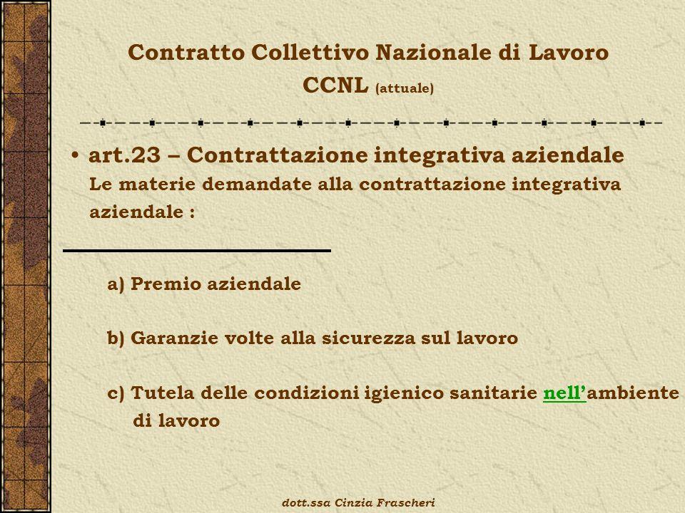 Contratto Collettivo Nazionale di Lavoro CCNL (attuale) art.23 – Contrattazione integrativa aziendale Le materie demandate alla contrattazione integra