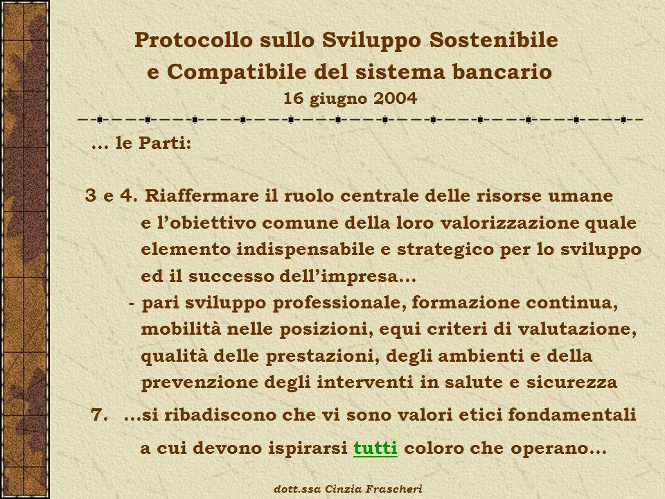 Protocollo sullo Sviluppo Sostenibile e Compatibile del sistema bancario 16 giugno 2004 … le Parti: 3 e 4. Riaffermare il ruolo centrale delle risorse